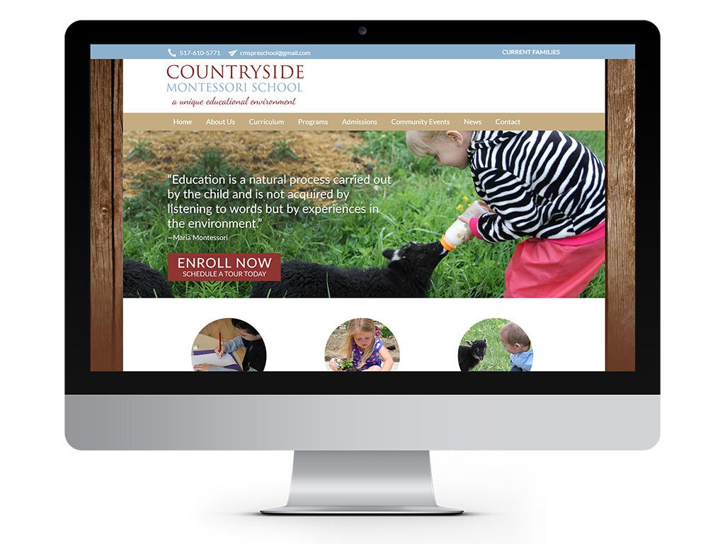 representation of Countryside Montessori School homepage designed by Go Montessori