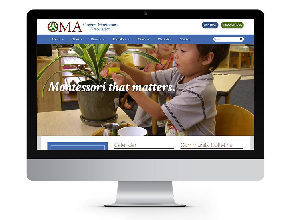 representation of Oregon Montessori Association homepage designed by Go Montessori