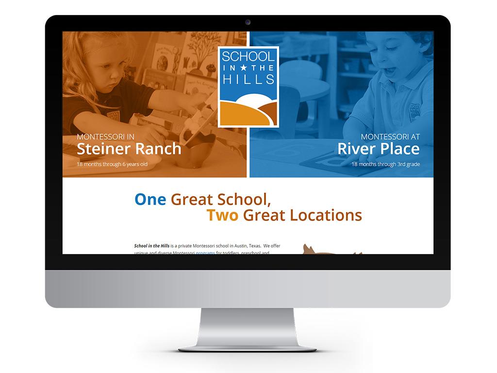 representation of School in the Hills homepage designed by Go Montessori