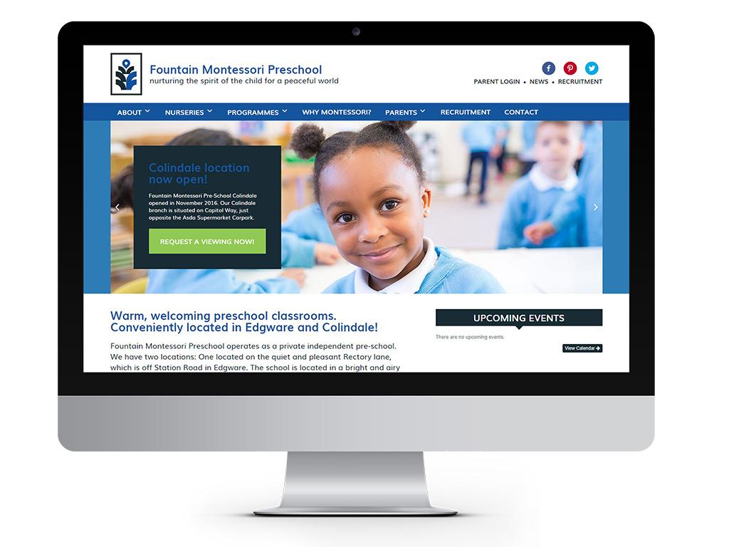 representation of Fountain Montessori Homepage designed by Go Montessori