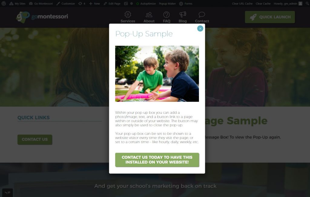 Sample of engaging pop-up on Go Montessori website